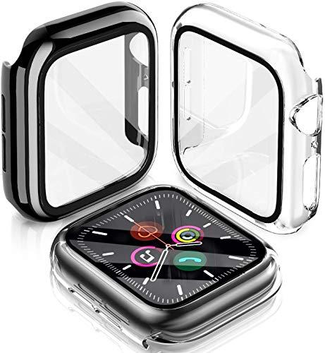 LeYi Funda para Apple Watch Series 6/SE/5/4 40mm Protector, 2 Piezas PC Case y Templado Vidrio Protector de Pantalla Integrados [Cobertura Completa] Slim Cover de Bumper para iWatch 6/SE/5/4 40mm