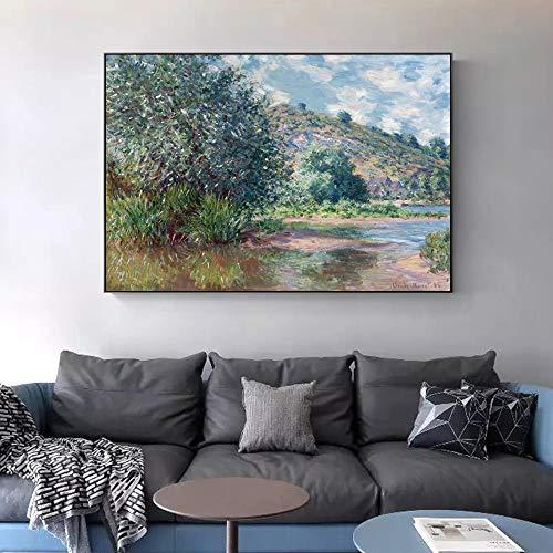 FANYUEART Claude Monet Klassische Landschaft Ölgemälde Leinwand Wandkunst Bilder Für Wohnzimmer Dekor Vintage Wohnaccessoires 70x105cm 28'x41 (Rahmenlos)