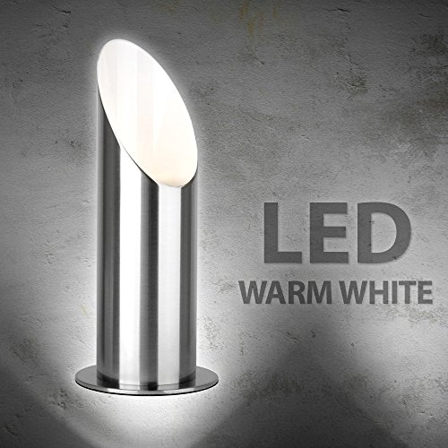 Modern Brushed Chrome Table/Floor Standing Uplighter Wall Wash Lamp - Complete with 5w LED Warm White High Power Frosted Lens Bulb