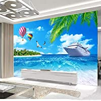 カスタム壁布3Dシービューココナッツツリーボート自然風景壁紙リビングルーム寝室の装飾背景壁壁画-250X175CM