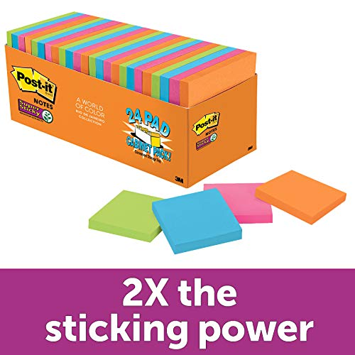 Post-it Super Sticky Notes, 3 in x 3 in, 24 Pads, 70 Sheets/Pad (654-24SSAU-CP)