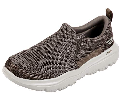 Skechers Mens GO Walk Evolution Ultra-Impeccable Sneaker, Khaki, 9 X-Wide
