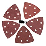 50pcs 40/60/80/100/120 Hojas de lija Grit Triángulo de ratones discos de papel Sander Grinder