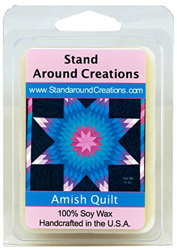 Amish Quilt Soy Wax Melt Tart- Spicy, sweet, and complex. Vanilla with a hint of cinnamon, clove, allspice and sugar. Hints of nutmeg and fruits peek out from the heart notes. 3oz - Naturally Strong