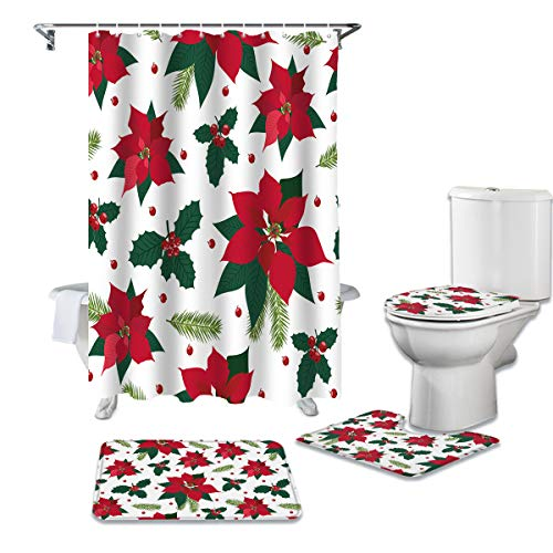 OneHoney 4 Piece Shower Curtain Sets with Non-Slip Rugs, Christmas Poinsettia and Berries Bathroom Curtains Waterproof, Red Flowers Decor Doormat, Toilet Lid Cover and Bath Mat