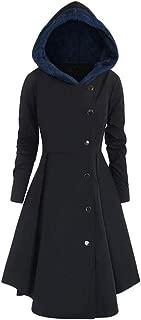 LUKEEXIN Asymmetric Contrast Hooded Skirted Long Coat Women Autumn Fly Coat Open Front Vintage Blazer Elegant Outwear