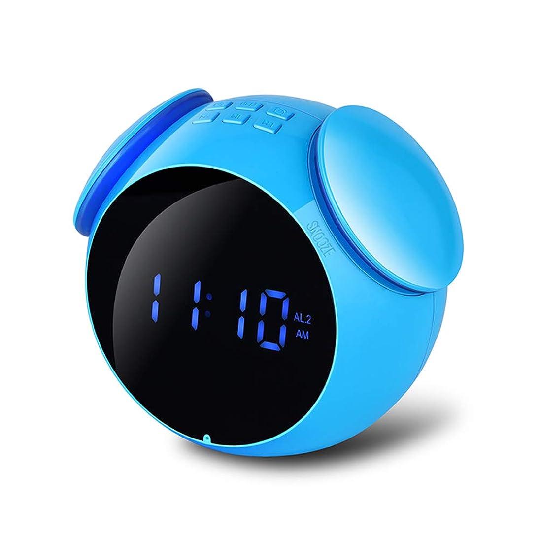夕方神の医薬品XZYPワイヤレスBluetoothスピーカー、ポータブル目覚まし時計リッチベース、HDディスプレイLEDミラー、作り付けマイク、パーティー用、読書、寝室、デスク,Blue