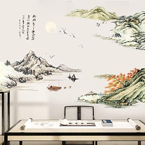 Grande 140 * 190 cm Nuevo Estilo Chino Pintura de Paisaje Pegatinas de Pared Vintge Poster Decoración Del Hogar Tatuajes de Pared Mural