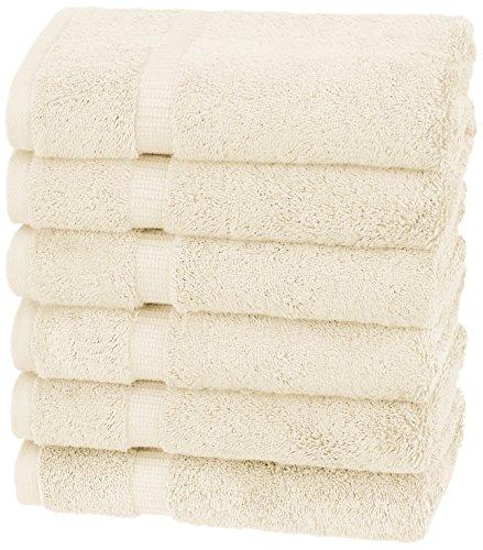 Amazon Brand – Pinzon Organic Cotton Hand Towels, Set of 6, Ivory