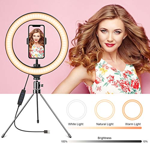 DMYCO Ringlicht, Ringleuchte, LED Licht mit Stativ & Handyhalter für Tiktok, Vlog, YouTube, Live, Video, Selfie,Fotografie