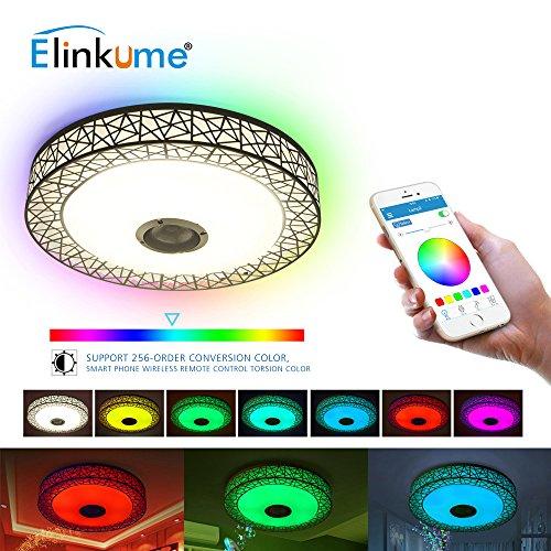 Plafoniera LED Salotto Bluetooth Intelligente con Altoparlante - App Telecomandato, RGBW Musica Lampada, 36W