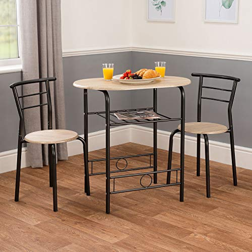 CHRISTOW Dining Table & Chairs Set Of 2, Breakfast Bar Table For 2, Compact 3 Piece Set, Contemporary Washed Wood Finish, Black