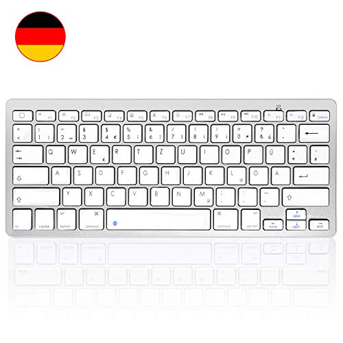 HANYEAL Tragbare schlanke kabellose universelle kabellose Bluetooth-Tastatur mit Schnellantworttasten für iPad Mini, Air, Pro, neues iPad, iPhone, Android-Smartphone (White)