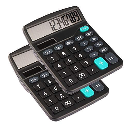 HIHUHEN Calcolatrice da tavolo a 12 cifre Calcolatrice solare a pulsanti grandi per la scuola domestica - Batteria fornita (2 x UK837)