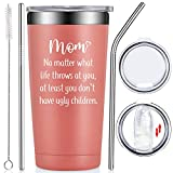 Fufendio Mom Gifts from Daughter, Son, Kid, Children - Mothers Day Birthday Gifts for Mom, Mommy, Wife - Christmas Present for Mom - Tumbler Cup Rose Gold 20oz
