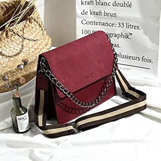 Adebie - Casual Pu Leather Crossbody Bags for Women Stripe Width Belt Chains Flap Bag Women Handbag Big Capacity Shoulder Bag Purses 2019 Red []