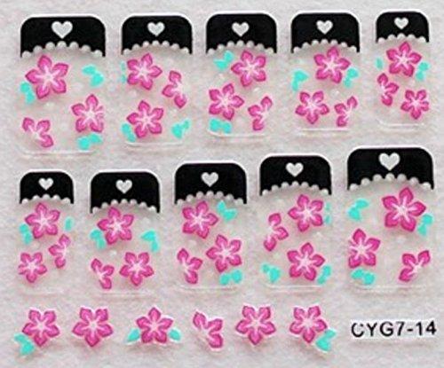 CLUB MODE Nail Art 10 Stickers Autocollants pour Ongles Scrapbooking Fleurs Roses Bordures Noires à Coeurs