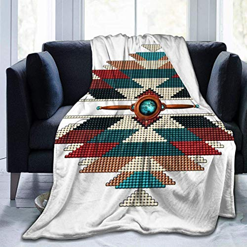 LoveBiuBiu Fleece Blanket- Southwest Native American Sunburst Home Flannel Fleece Soft Warm Plush Throw Blanket for Bed/Couch/Sofa/Oficina/Camping, Multicolor, 50' x 40'