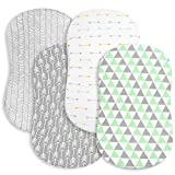 Bassinet Bed Sheets – Premium Bassinet Fitted Sheets 4 Pack – 100% Jersey Knit Cotton Cradle Sheets – Bassinet Bedding for Standard Size Oval or Halo Bassinet Pads – Bassinet Sheet for Boy & Girl