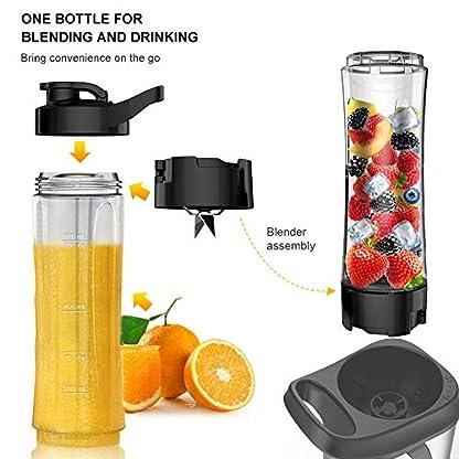 Mixer-Smoothie-MakerSboly-Standmixer-fuer-Milchshakes-und-Juice-Shakes-Blender-elektrisch-Kleiner-Mixer-mit-2-Tritan-BPA-Freien-600ml-Mixbechern-und-Reinigungsbuerste-EU-Plug-350W