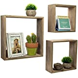 Floating Rustic Wall Shelves: Set of 3 Nested Barnwood Cube Shelves. Wall-Mounted Storage Bookshelf is perfect for home dcor for the Living Room, Bedroom, Office, Kitchen or Bathroom (Set of 3)