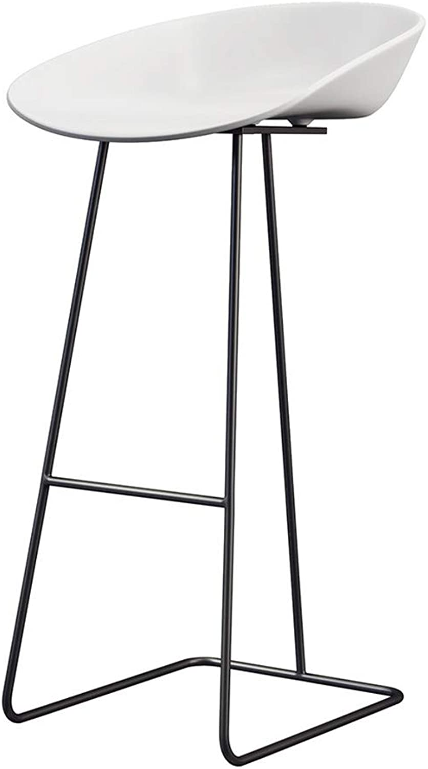 XLZ Simple Bar Stool, Wrought Iron Painting Process, Breakfast Stool, Kitchen Bar Stool,Breakfast Stool,Counter Chair (color   Black-White, Size   65CM)