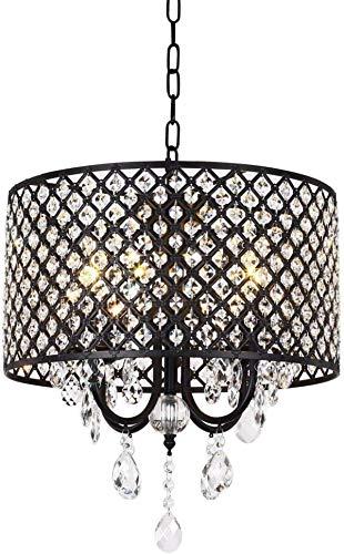 Lámpara de cristal elegante moderna de 4 ligeras + tambor de cuentas redondas, altura ajustable, acabado cromado, luz de araña de cristal Luz colgante