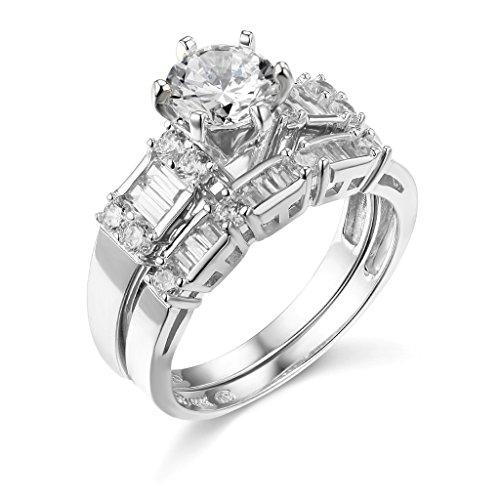 TWJC 14k White Gold Solid Wedding Engagement Ring and Wedding Band 2 Piece Set - Size 7.5