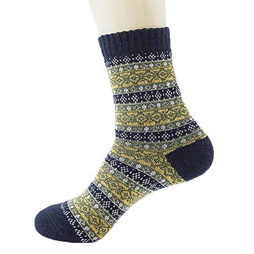 happygirr Calcetines de lana para hombre, gruesos, cálidos, medias, retro, nacionales, calcetines divertidos, calcetines locos, calcetines modernos, multicolor, clásicos como regalo