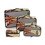 BIGJOKE - Juego de 4 Cubos de Embalaje de Viaje, diseño Vintage de Londres Big Ben Inglaterra,...