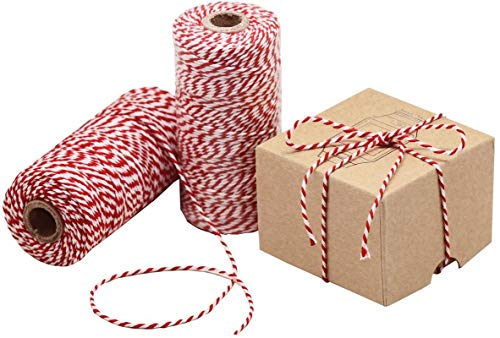 HOKI Cotton Bakers Twine Red & White 328 Feet (100M), Packing String, Durable Rope for Gardening, Decoration, Tying Cake and Pastry Boxes, Crafts & Gift Wrapping, for Art and Craft