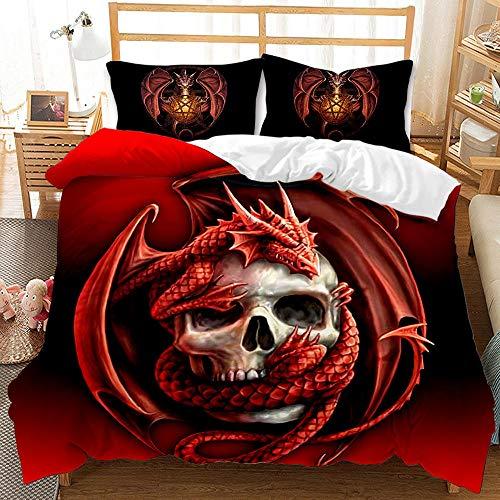 Bedclothes-Blanket Juegos de Cama de 90,Conjunto de colchas de impresión Digital Moda de Personalidad de Tres Piezas 骷髅-3_180 * 220cm