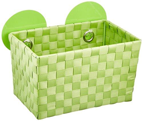 WENKO 20381100 Static-Loc Aufbewahrungskorb Fermo Green, Badkorb, Befestigen ohne bohren, 20,5 x 14,5 x 14 cm