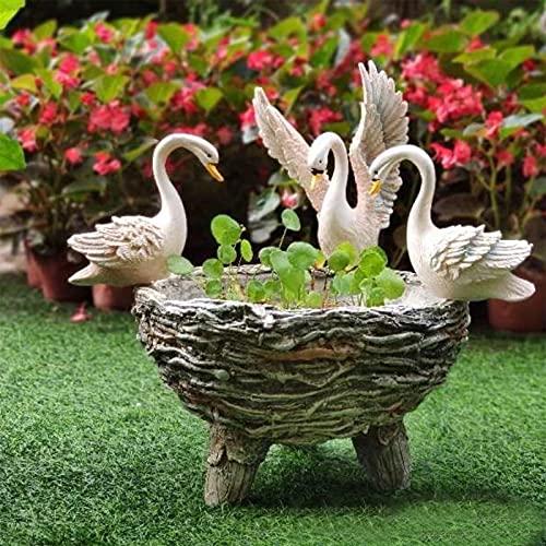 Tre fioriere di cigni Decorazioni da giardino, vasi da fiori in pietra antichi, piante da laghetto idroponiche decorazioni per esterni, piccola fioriera in resina con cigno bianco per decorazioni