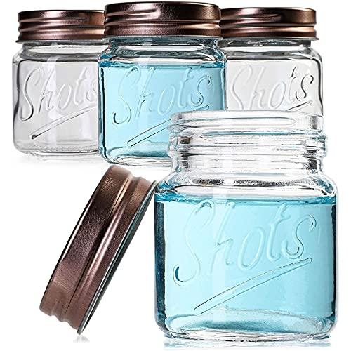 Mini Mason Jars Shot Glasses with Lids in Bulk Set (2 Ounce, 12-Pack)