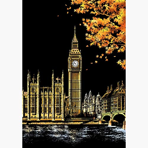JSANSUI Classroom decoration Painting Scratch Card Golden Night View Paint Arts Paper Hand Painted Home Decoration Creative Handmade Gifts,Size:40.5 * 28.5cm (Color : Color2)