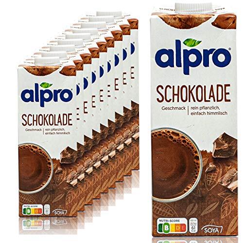 Alpro - 10er Pack Sojadrink Schoko 1 Liter - Choco Soja Soya Drink 100 % pflanzlich