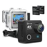 Caméra Sport, EIVOTOR Caméra d'Action 1080p 4 K Wifi 16MP Ultra HD Caméscope Étanche 30M, 170 °Grand-Angle Haute Résolution, 2 Pouces LCD, 2 Batteries + Kit d'Accessoires