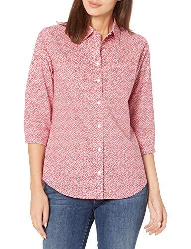 Amazon Essentials Classic-Fit 3/4 Sleeve Poplin Shirt Dress-Shirts, Red Ditsy Floral, M
