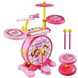 Schlagzeug Kinder, Reditmo Kid Drum Kinder Schlagzeug Set Trommel Kinder mit Mini Klavier Keyboard Mikrofon Drumsticks Hocker für Baby Kleinkinder Kinder ab 18M+ 2-6 Jahre Pink