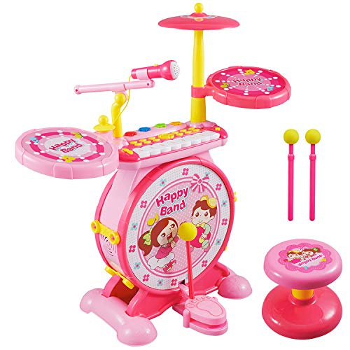Schlagzeug Kinder, Reditmo Kid Drum Kinder Set Trommel Kinder mit Mini Piano Keyboard, Mikrofon, Drumsticks, Hocker, für Baby, Kleinkinder, Kinder ab 18M+ 2-6 Jahre, Pink