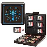 Funda para Juegos Nintendo Switch - 12 Ranuras para Almacenamiento de Tarjetas de Juego y 12 Ranuras para Tarjetas SD,Portátil y Delgado,Estuche para Nintendo Switch Lite NS Juego (Black Slate Eye)