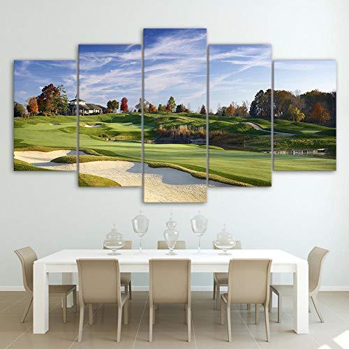 Gxucoa Impresiones sobre Lienzo 5 Piezas Cuadros Campo De Golf 5 Pieza Cuadro En Lienzo Tejido No Tejido Impresión En Lienzo Decoracion Pared Regalo Creativo