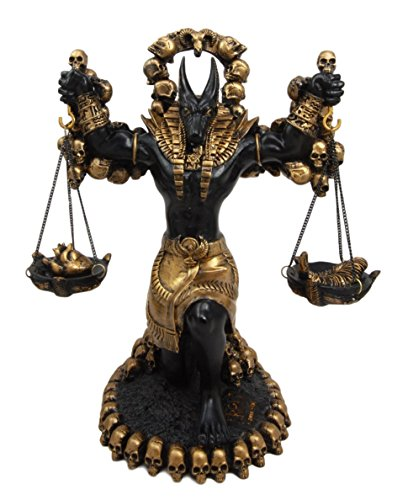 "Ebros Ancient Egyptian God Anubis Statue By Ankh Altar Weighing The Heart Against Ostrich Feather Figurine 9"" Tall"