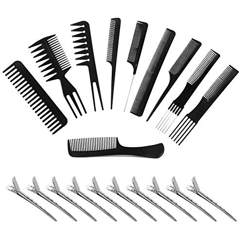 Vebiys Magic 10 piece professional styling comb set - Anti Static Coarse Fine Toothed Pick Combs - hair styles for women, men, girls, and boys - Suitable for stylist (black)