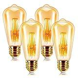 led lampadina vintage edison 6w e27 2200k 600lm edison lampadina vintage retro stile lampadine decorativo luce filamento della lampadina (4 pezzi)