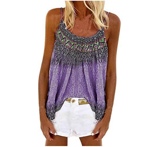 Janly - Camiseta sin mangas para mujer con impresión informal sin mangas, para verano, morado, medium