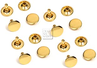CRAFTMEmore 100 PCS 4MM 5MM 6MM Double Cap Rivets Round Rivet Fasteners for Leather Craft Decorations VT (6 mm Cap, Gold)