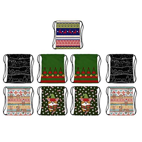 Amosfun 9 mochilas de Navidad con cordón, de tela Oxford, resistentes a las gotas, mochila de viaje impresa, bolsa de deporte, bolsa de cuerdas para viajes, gimnasio, yoga, escuela, regalo aleatorio