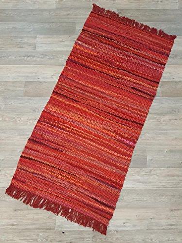 Kottig Fleckerlteppich Hochwertiger Handweb Fleckerl Teppich Arlberg 80x150 cm 2.200g/m2 Schwere Qualität Rot